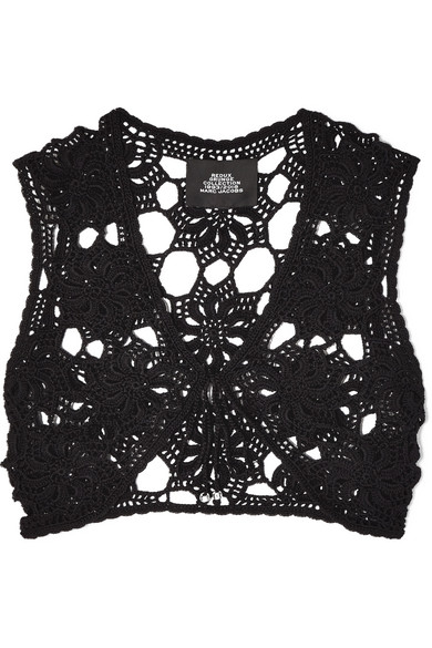 MARC JACOBS | Marc Jacobs - Crocheted Cotton Top - Black | Goxip