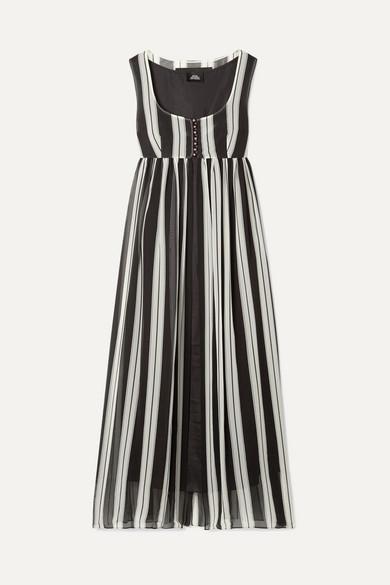 Striped Silk Maxi Dress - Black Pat. Size 0