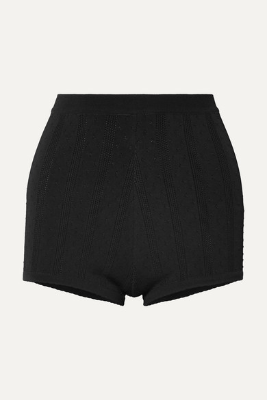 MARC JACOBS | Marc Jacobs - Embroidered Stretch-knit Shorts - Black | Goxip