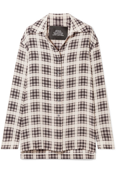 Oversized Plaid Button Down Shirt in White