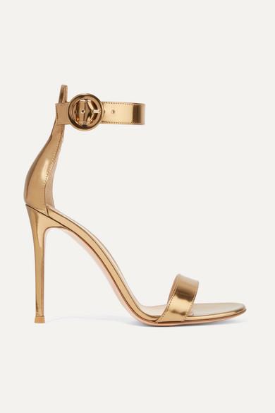 GIANVITO ROSSI | Gianvito Rossi - Portofino 105 Metallic Leather Sandals - Gold | Goxip