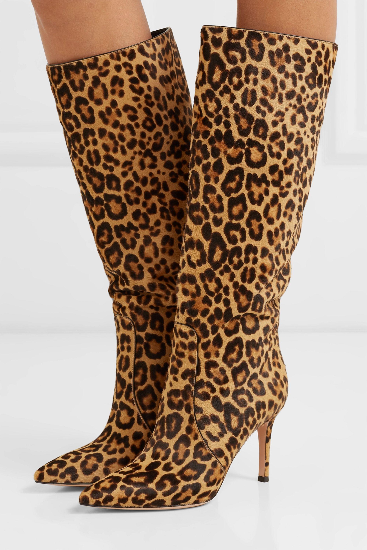 leopard knee boots