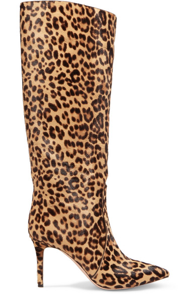 Hunter Leopard-Print Calf Hair Knee Boots - Lt. Brown Size 8 in Leopard Print