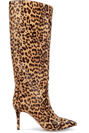 Gianvito Rossi 85 leopard-print calf hair knee boots