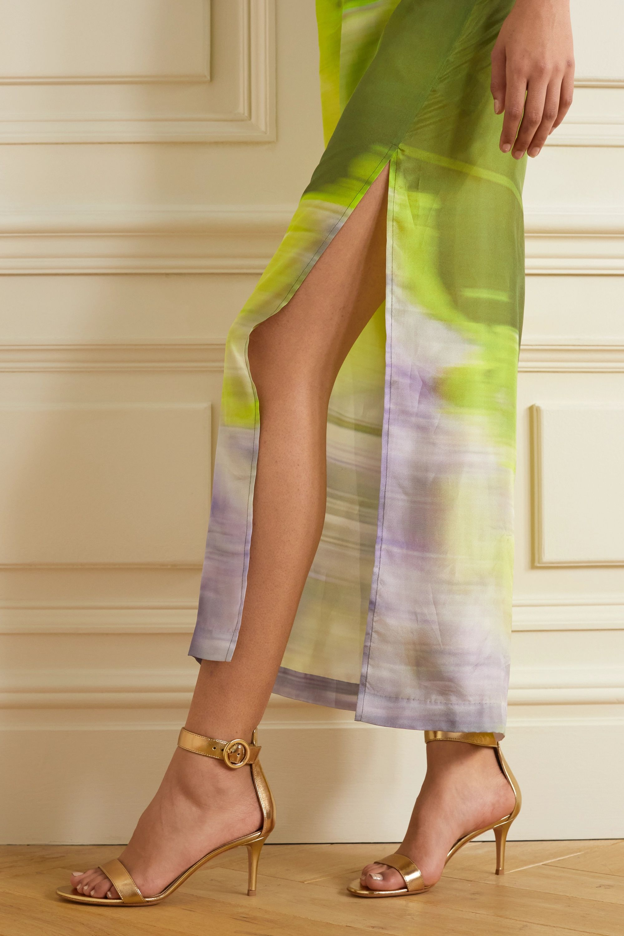 Gianvito Rossi Portofino 70 metallic leather sandals