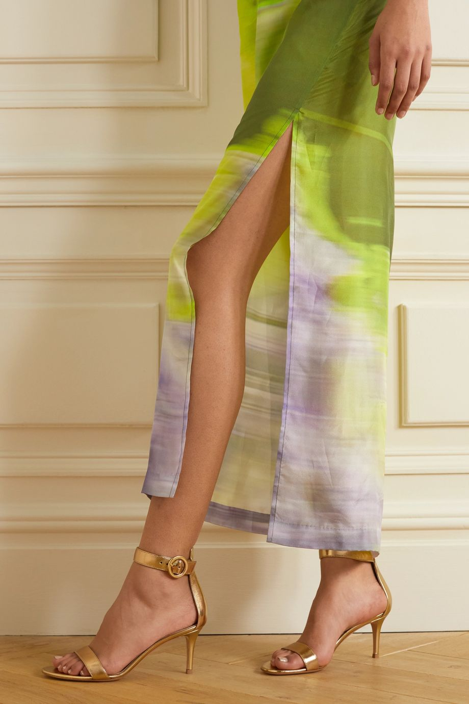 Gianvito Rossi Portofino 70 metallic leather sandals