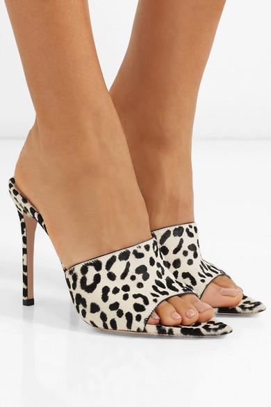Gianvito Rossi Mules 105 leopard-print calf hair mules