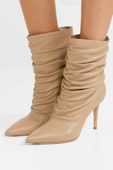 Gianvito Rossi Boots Cecile 85 ruched leather ankle boots