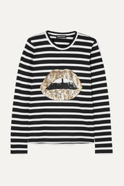 Markus Lupfer Sophie sequined striped cotton-jersey top