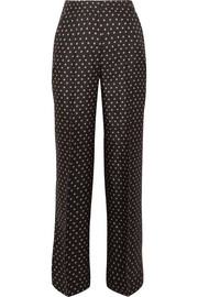 Markus Lupfer Cameron Star printed silk-twill wide-leg pants