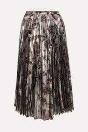 Markus Lupfer Hailey pleated printed silk-blend lamé midi skirt