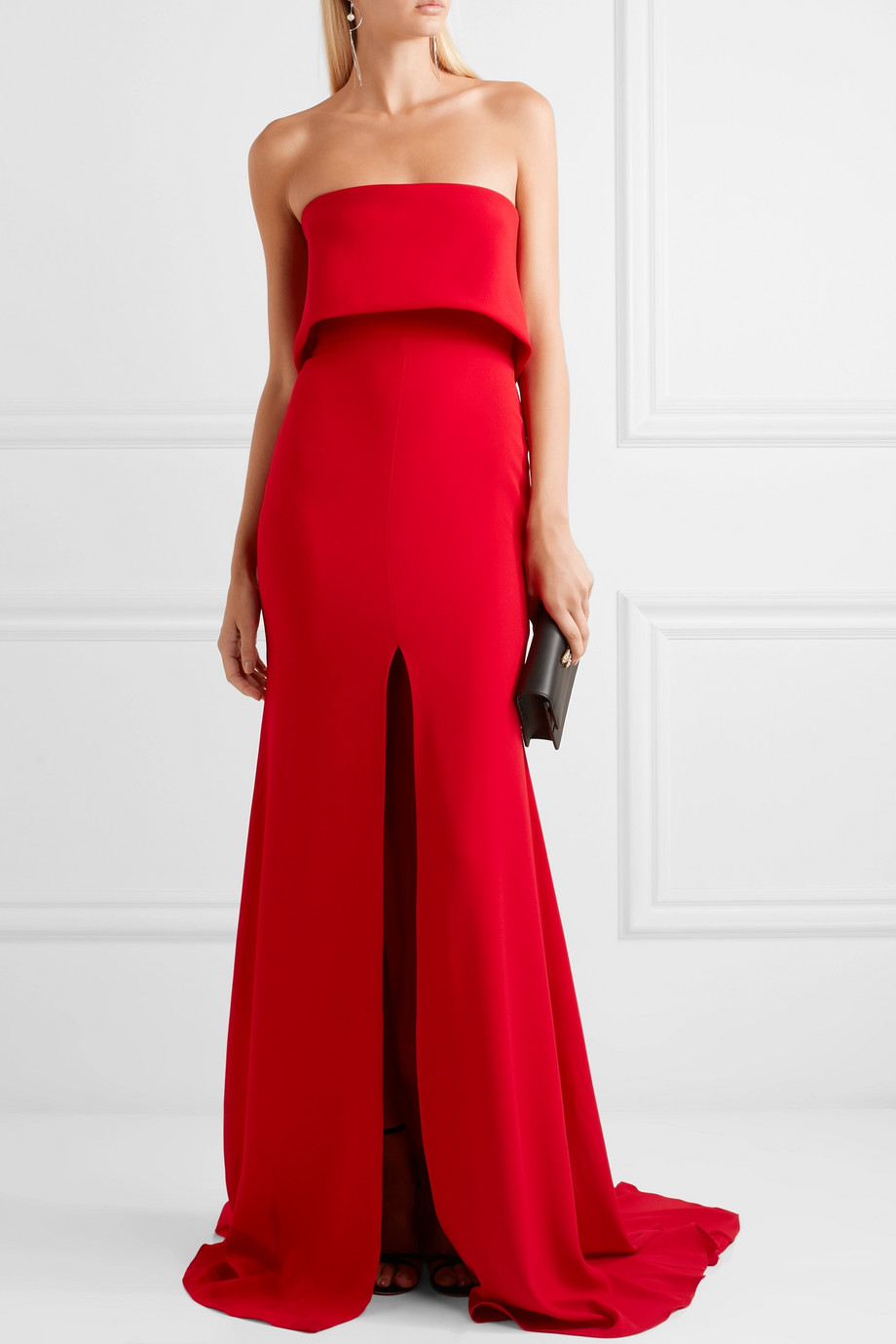 ALEX PERRY Strapless split-front crepe gown - what to wear to a new year's party