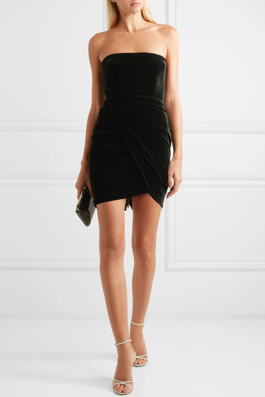 Alex Perry Strapless velvet mini dress