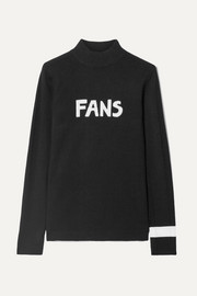 Fans intarsia wool turtleneck sweater