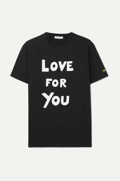 BELLA FREUD | Bella Freud - Printed Cotton-jersey T-shirt - Black | Goxip