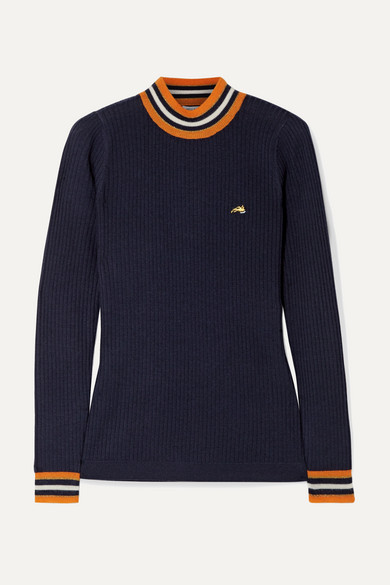 Bella Freud RACE TRACK STRIPED RIBBED WOOL SWEATER