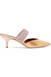 Maisie 45 cord-trimmed metallic leather mules