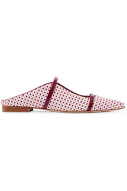 Maureen leather-trimmed woven raffia point-toe flats