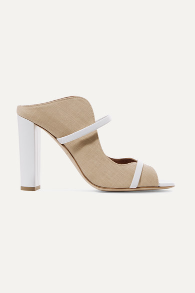 Norah 100 Leather Trimmed Linen Mules by Malone Souliers