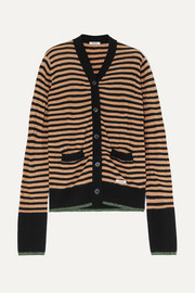 Crush striped wool-blend cardigan