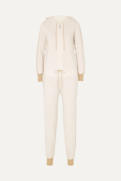 Hooded Cashmere Jumpsuit in Cream