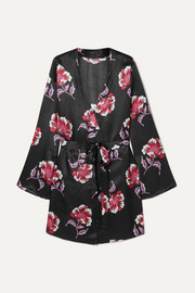 Langley floral-print satin robe