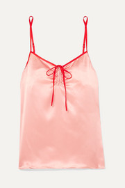 Serena bow-detailed two-tone silk-satin camisole