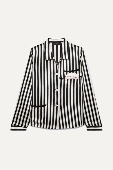 Morgan Lane + Amanda Fatherazi Mini Mask Ruthie appliquéd striped silk-charmeuse pajama top