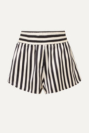 Morgan Lane + Amanda Fatherazi Corey appliquéd striped silk-charmeuse pajama shorts