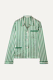 Morgan Lane Ruthie striped silk-charmeuse pajama shirt