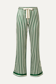 Chantal striped silk-charmeuse pajama pants
