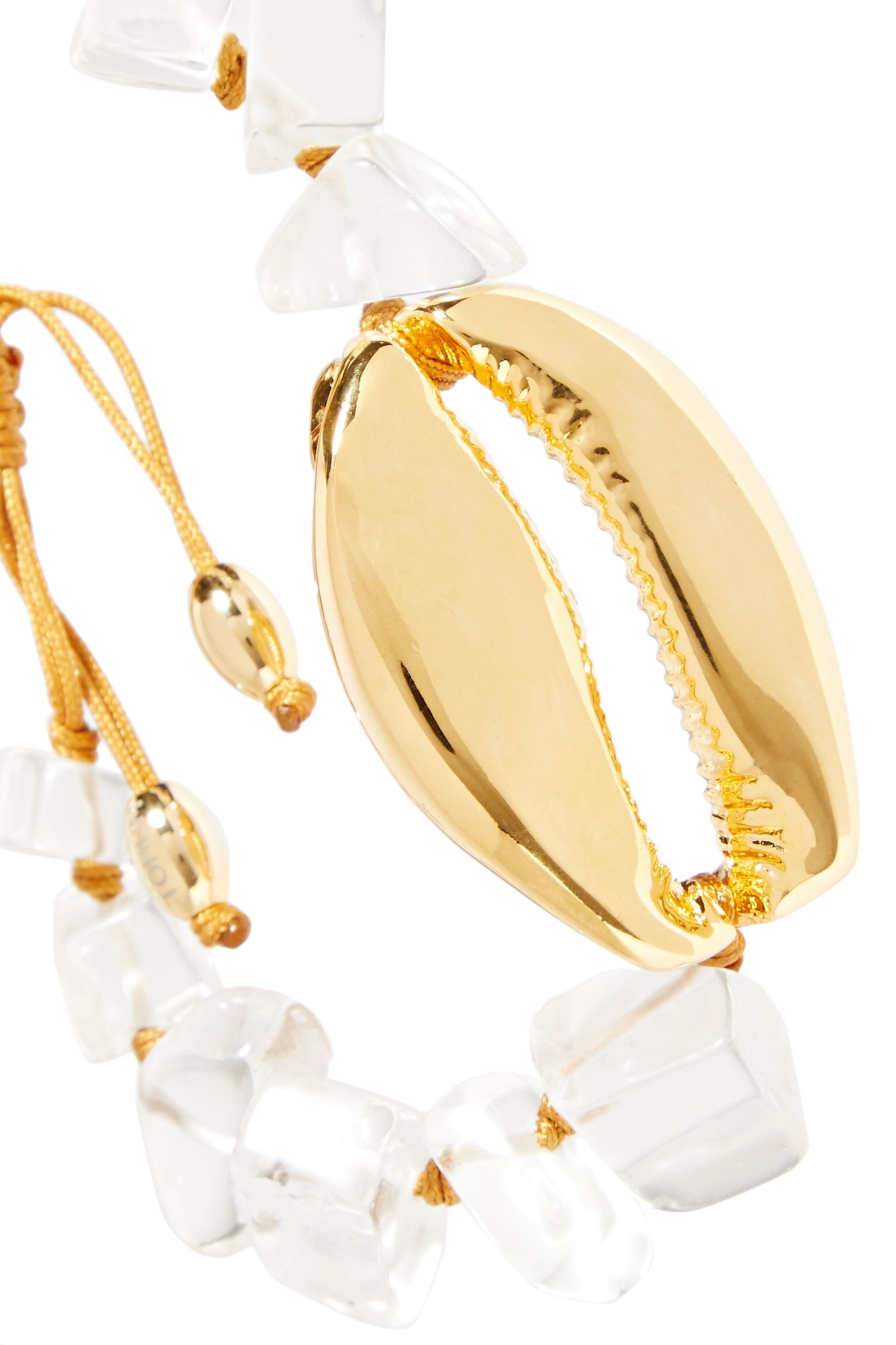 Tohum Gold-plated, crystal and cord bracelet