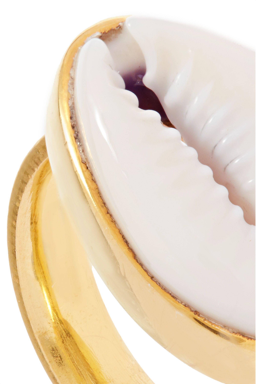 Tohum Bague en plaqué or et coquillage Puka