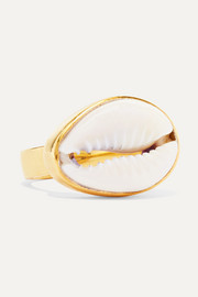 Puka gold-plated and shell ring
