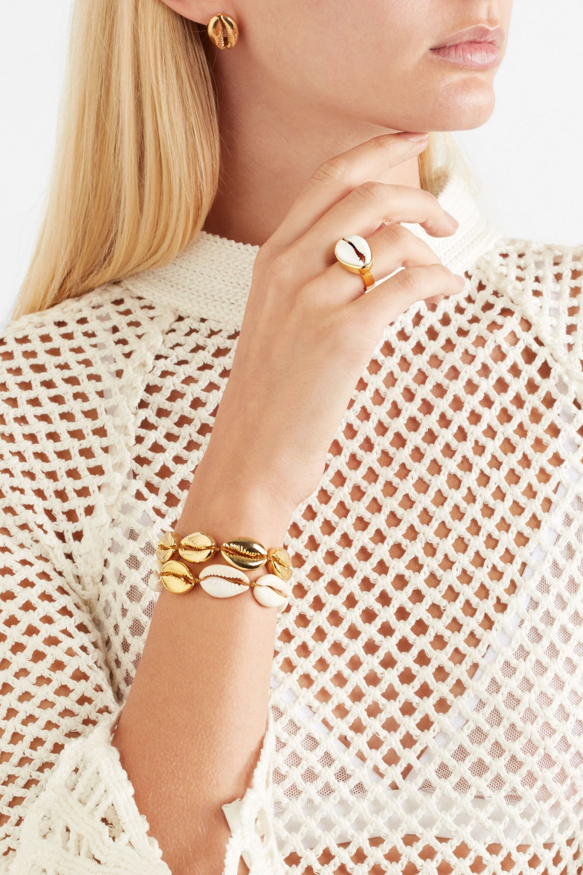 Tohum Puka gold-plated and shell ring