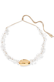 Tohum Mega Puka gold-plated crystal necklace