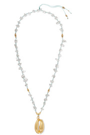 Gold-plated, crystal and cord necklace