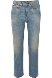 Stove Pipe distressed high-rise straight-leg jeans