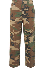 R13 Slouch cropped camouflage-print cotton-twill wide-leg pants