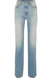 Colleen distressed high-rise straight-leg jeans