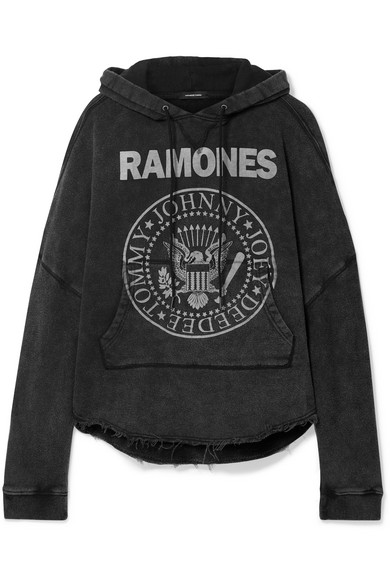 R13 | R13 - Ramones Patti Oversized Printed Cotton-blend Jersey Hoodie - Black | Goxip