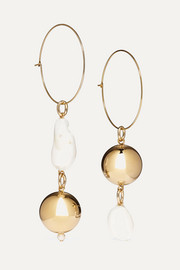Pagoda Fruit gold-plated pearl earrings