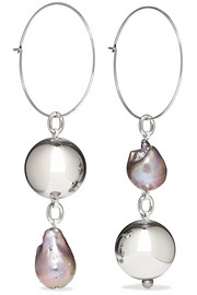 Mounser Pagoda Fruit rhodium-plated pearl earrings