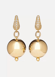 Full Moon gold-plated cubic zirconia earrings