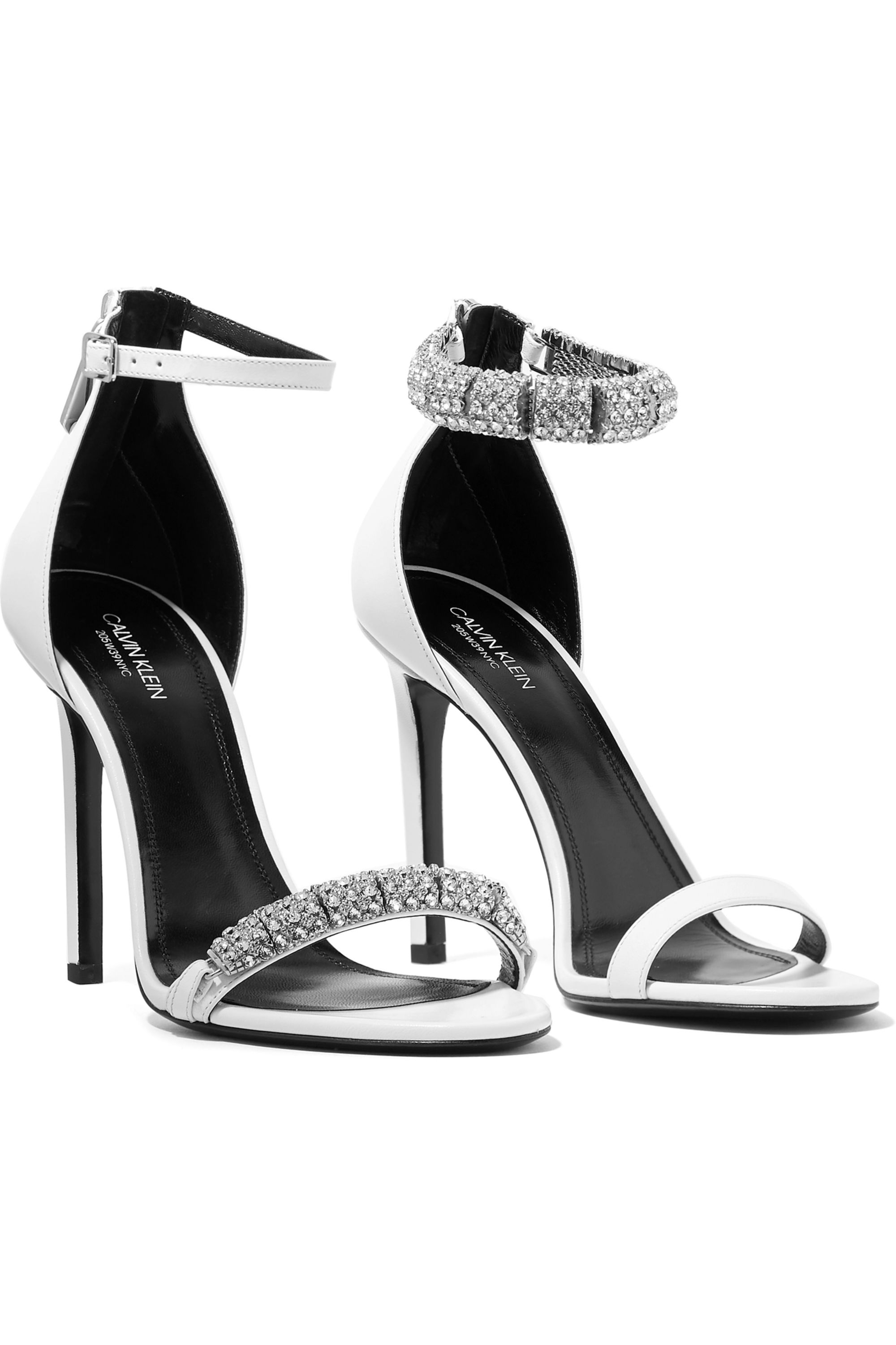CALVIN KLEIN 205W39NYC Camelle crystal-embellished leather sandals