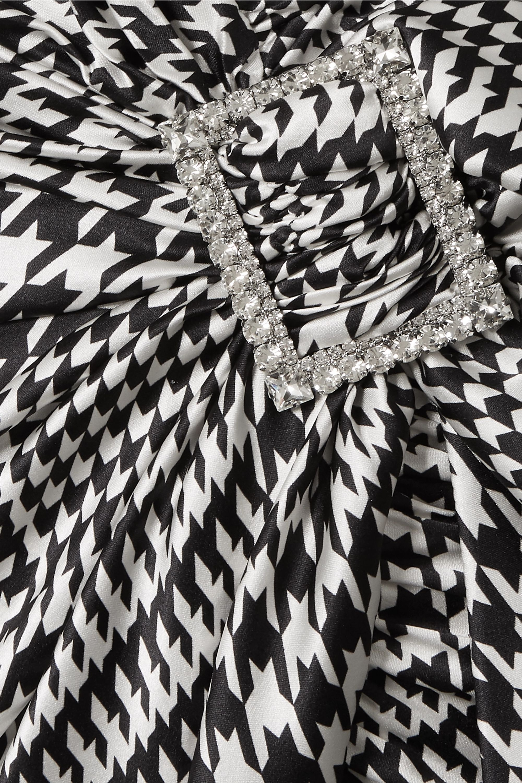 Alexandre Vauthier Embellished draped houndstooth silk-blend satin mini dress