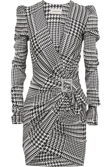 run shoes quality products ever popular Embellished draped houndstooth silk-blend satin mini dress