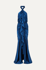 Open-back ruffled stretch silk-satin halterneck gown