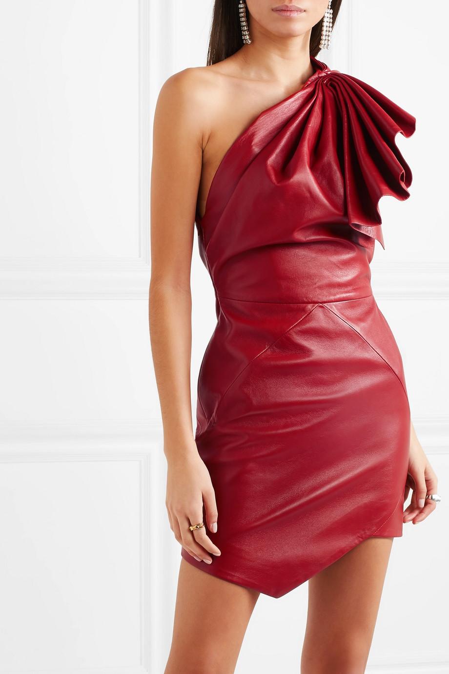 44e2bea57123 Alexandre Vauthier One-shoulder leather mini dress