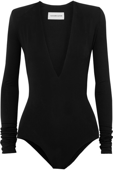 Stretch-Crepe Bodysuit in Black
